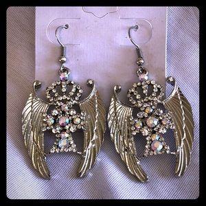 Jewelry - New Silver Bling Angel Wing Earrings
